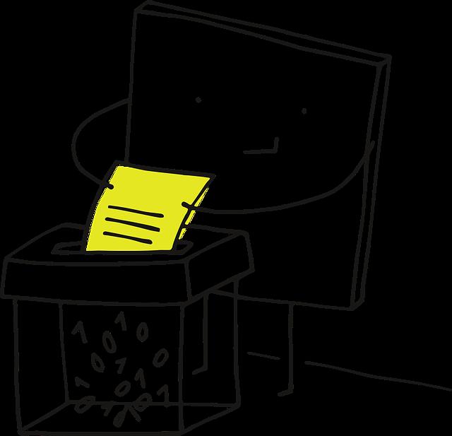 ilustrace skartování dokumentů